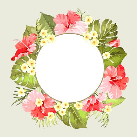 circle flower: Tropical flower circle frame with place for invitation card text over gray background. Invitation card with floral garland with text place. Vector illustration.