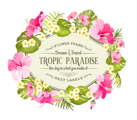 Tropical flowers wreath for vintage card. Yellow plumeria with a vintage label isolated over white background. Vector illustration.