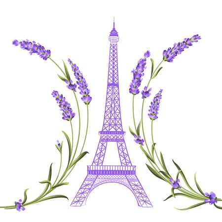 Eiffelturm mit Lavendel Blumen auf weißem Hintergrund. Die Lavendel elegante Karte. Eiffelturm-Symbol mit Frühlingsblumen für Hochzeit, Einladung blühen. Vektor-Illustration.