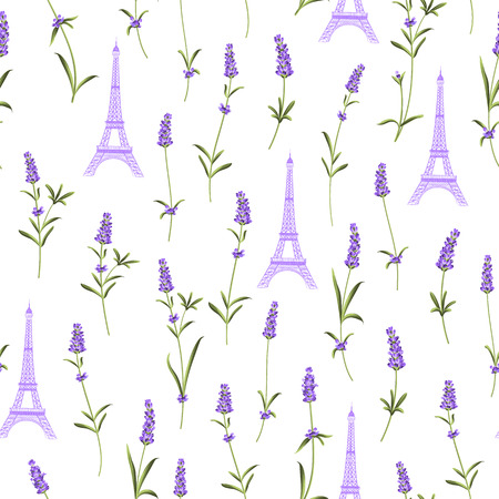 eifel: Fabric pattern with lavender flowers and eiffel tower. Seamless background for fabric design. Vector illustration.