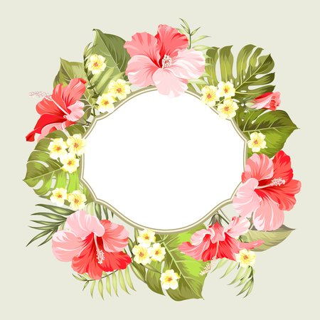 holiday garland: Tropical flower frame with place for invitation card text. Happy holiday card with floral garland. Summer holiday invitation card with floral garland with text place. Vector illustration.