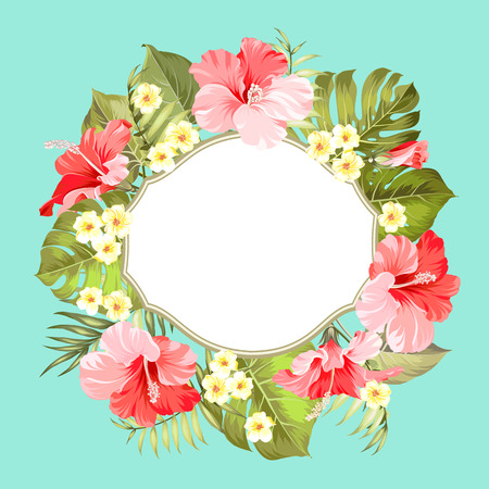 Tropical flower wreath with place for invitation card text. Happy holiday card with floral garland. Summer holiday invitation card isolated over green background. Vector illustration. Illustration