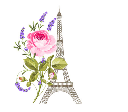 historic: Eiffel tower simbol with blooming flowers. Vector illustration.