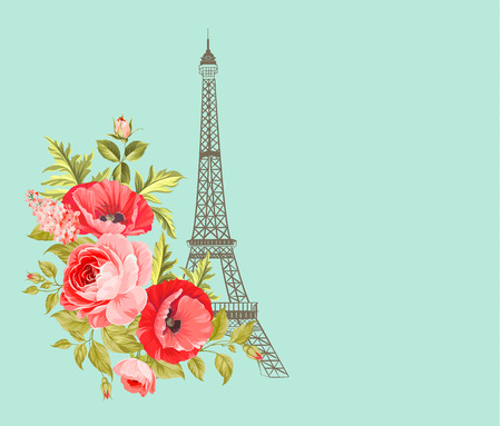 tower tall: Eiffel tower isolated over the blue background. Vintage blue card with spring flowers design with Eiffel tower. Vector illustration.