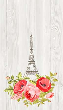 eifel: Eiffel tower with spring blooming flowers over gray wooden pattern. Romantic invitation card. Vector illustration.