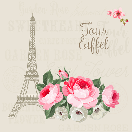 european: Eiffel tower simbol with spring blooming flowers over gray text pattern with sign Tour Eiffel. Vector illustration.