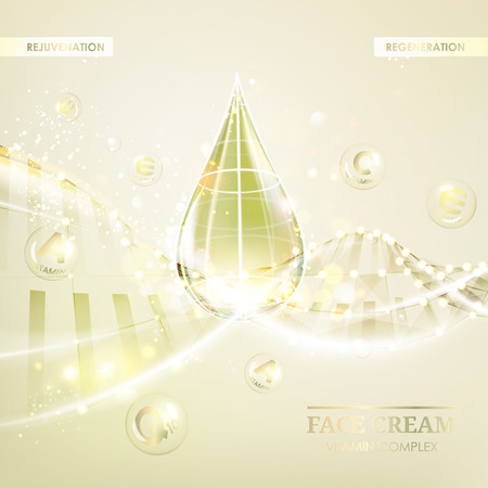 regenerate: Concept Skin Care Cosmetic. Regenerate cream and Vitamin Background. Sepia banner with a DNA molecule of polygons. Vector illustration.