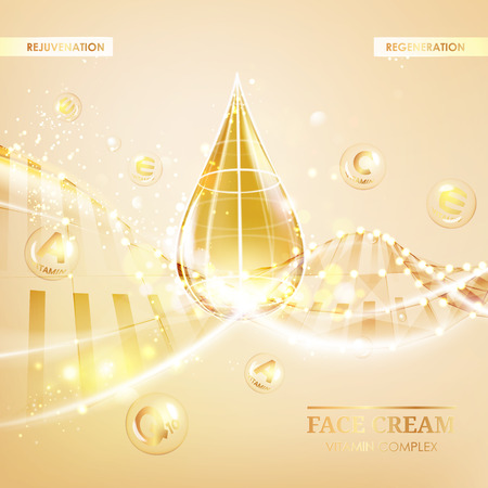 肌ケアのコンセプトです。紫外線防止と美白クリーム。輝く背景上の手紙と黄金の泡。ベクトルの図。