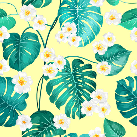 yellow blossom: Seamless tropical flower. Tropical plumeria and green palm leaves. Light fabric swatch with pradise flowers isolated over yellow background. Blossom plumeria for seamless pattern background.