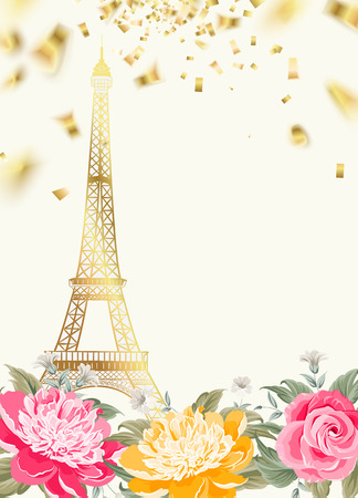 eifel: Eiffel tower icon with Golden confetti falls isolated over white background and blooming spring flowers in the bottom. Vector illustration. Illustration