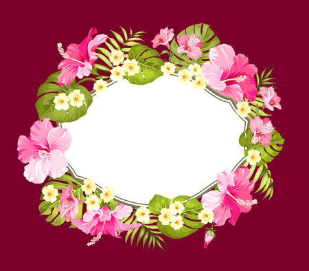 holiday invitation: Tropical flower wreath with place for invitation card text. Happy holiday card with floral garland. Summer holiday invitation card isolated over red background. Vector illustration.