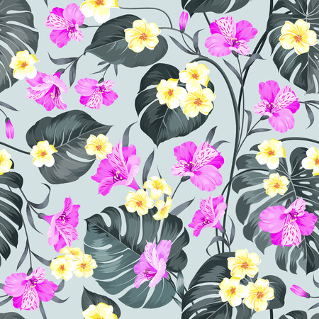 vector fabric: Tropical flowers and jungle palms. Beautiful fabric pattern with a tropical plumeria isolated over gray background. Seamless texture. Vector illustration. Illustration