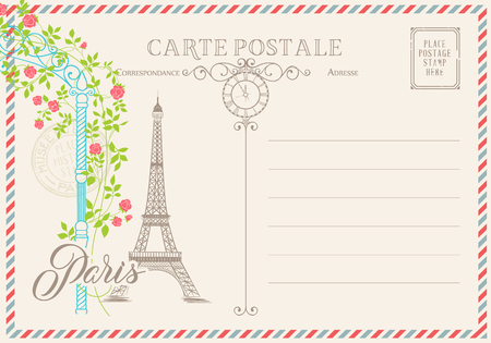 postal: Old blank postcard with post stamps and eiffel tower with spring flowers on the top.illustrtion. Illustration