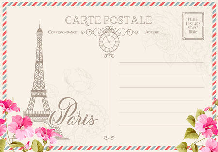 Old blank postcard with post stamps and eiffel tower with spring flowers on the top. illustrtion.