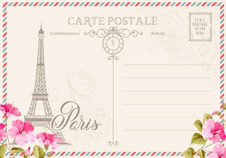 Vecchia cartolina in bianco con timbri post e torre eiffel con fiori di primavera in cima. illustrtion. Vettoriali
