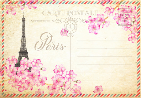 old letter: Old blank postcard with post stamps and eiffel tower with spring flowers on the top. illustrtion.