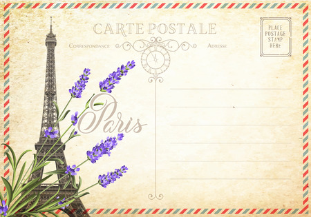 tall: Old blank postcard with post stamps and eiffel tower with spring flowers on the top. illustrtion.