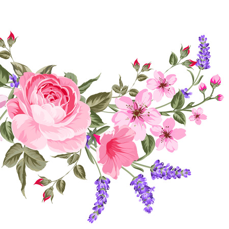 The lavender elegant card. Botanical illustration of provence lavender. Bouquet of red flowers and lavender in vintage style. Card with custom sign and place for your text.  illustration.  イラスト・ベクター素材