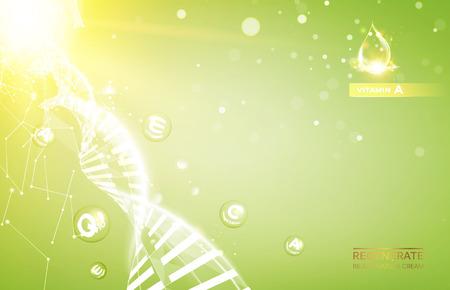 regenerate: Science illustration of a cream molecule. Regenerate face cream and Vitamin complex concept. Organic cosmetic and skin care cream. Beauty skin care design over golden background.