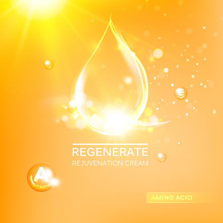 Regenerate face cream and Vitamin complex concept. Shining orange essence droplet. Vitamin E drop in form of sphere. Beauty skin care design . Vector illustration.