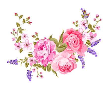 The lavender elegant card. Botanical illustration of provence lavender. Bouquet of red flowers and lavender in vintage style. Card with place for your text. Vector illustration.