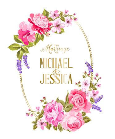 Modèle de carte d'invitation de mariage. Cadre de fleurs tropiques dans un style vintage. Carte d'invitation de mariage avec panneau personnalisé et cadre de fleurs sur fond blanc. Illustration vectorielle