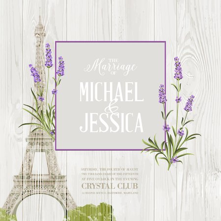 shabby: Marriage invitation card with floral garland and calligraphic text. Eiffel tower with blooming spring flowers over old wooden background. Vector illustration. Illustration