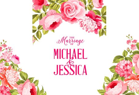 flower blooming: Marriage invitation card. Invitation card template with blooming flowers and custom text isolated over white. Flower garland for invitation card. Vector illustration.