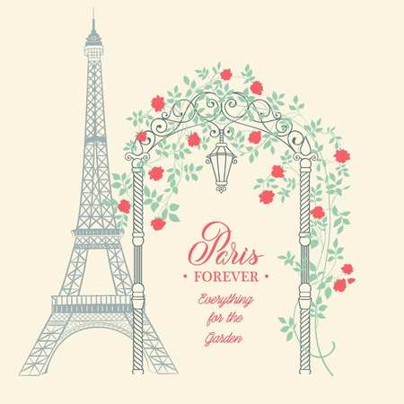 post: Old postcard with eiffel tower and spring flowers on the garden arch. Rose garden with arch flowers, text template place in the bottom. Vector illustration.