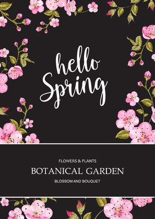 chik: Invitation vertical card. Floral vertical template of design with blue frame of blooming flowers. Text place for your text. Vector illustration.