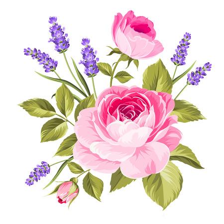 Lente bloemen boeket van kleur bud garland. Label met rozen- en lavendelbloemen. Vector illustratie.