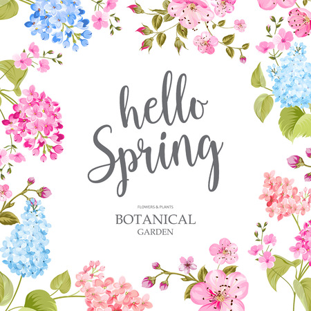 Spring time concept of card with blooming flowers isolated over blue background. Vector illustration. Фото со стока