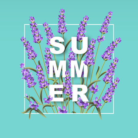 summer border: Elegant card with lavender flowers. The lavender rectangle frame and text Summer. Lavender border for your text presentation. Vector illustration.