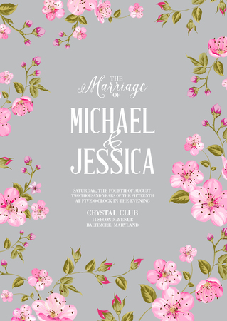 gray pattern: Wedding invitation card template. Spring flowers border over card with marriage text. Cherry blossom flowers. Vector illustration. Stock Photo