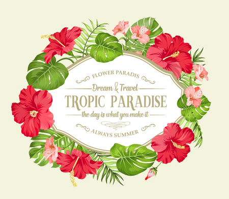 Tropical flower wreath. Happy holiday card with floral garland. Summer holiday invitation card isolated over sepia background. Red hibiscus frame with a vintage label isolated over white background. Vector illustration.