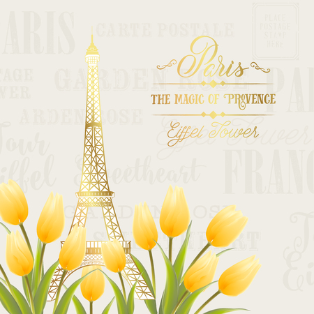Eiffel tower and Tulip bouquet. Spring in Paris sign. Tulip bouquet over gray text pattern. Elegant print template. Vector illustration. Illustration