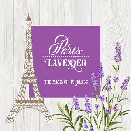 Marriage invitation card with floral garland and calligraphic text. Eiffel tower with blooming spring flowers over old wooden background. Vector illustration. Illustration