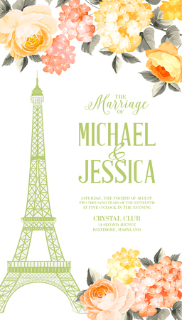 marriage invitation: A marriage invitation card with floral garland and calligraphic text. Eiffel tower with blooming spring flowers over white background. Vector illustration.