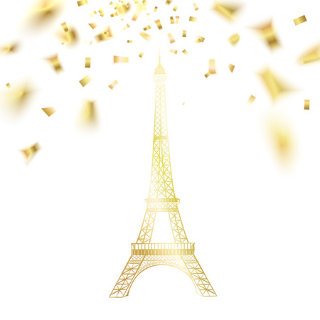 Cute Eiffel tower and falling confetti. Vector illustration.