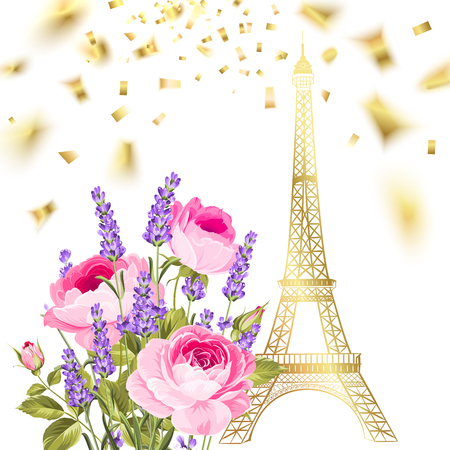 Confetti with eiffel tower. Eiffel tower and falling confetti. Golden confetti falls isolated over white background. Vector illustration.