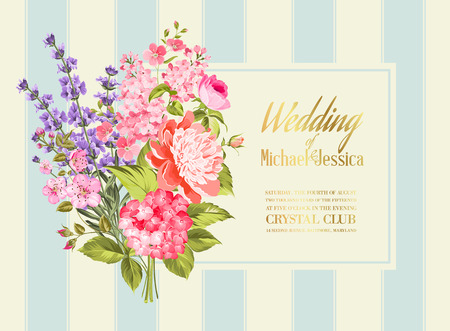 Awesome vintage label of color flowers. Wedding Card and engagement announcement. Wedding of Michael and Jessica. Vector illustration.