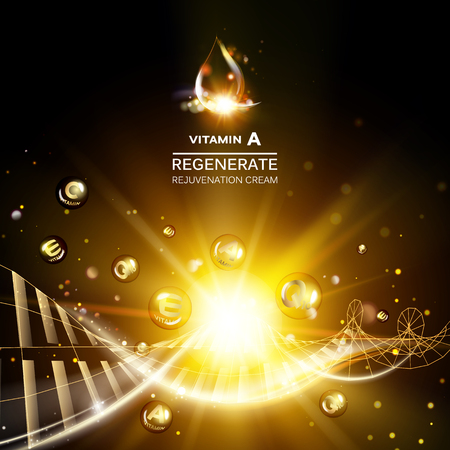 Regenerieren Gesichtscreme und Vitamin-Komplex-Konzept. Glänzendes goldenes Essenztröpfchen. Vitamin E fällt in Form einer Kugel ab. Schönheits-Hautpflegedesign über dunklem goldenem Hintergrund. Vektor-Illustration. Standard-Bild - 74720417