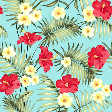patten: Tropical design for fabric swatch. Topical palm leaves and beautiful plumeria flowers on seamless patten over blue background. Vector illustration. Illustration