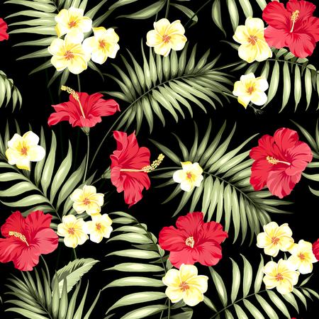 Plumeria tropicali e foglie di palma verdi. Scuro campione di tessuto con fiori Pradise isolato su sfondo nero. Senza soluzione di continuità di struttura del tessuto. Illustrazione vettoriale.