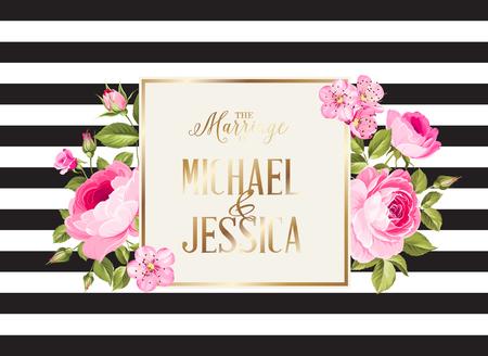 Huwelijksuitnodigingskaart met roze bloemen. Moderne huwelijk uitnodigingskaart met sjabloon namen en bloemboeket. Vector illustratie.