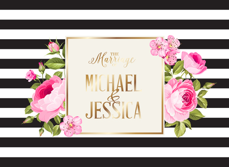 Marriage invitation card with pink flowers. Modern marriage invitation card with template names and flower bouquet. Vector illustration. Vettoriali