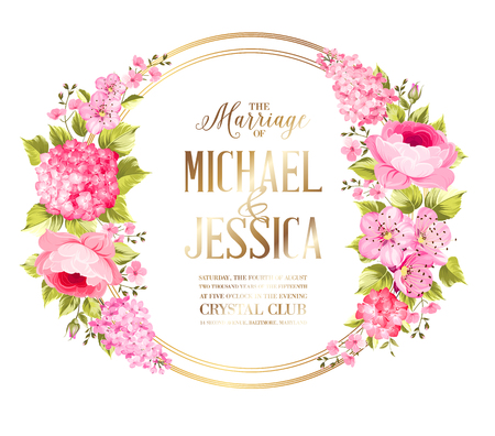Wedding invitation card with template names, roses, and flower circle garland vector illustration.
