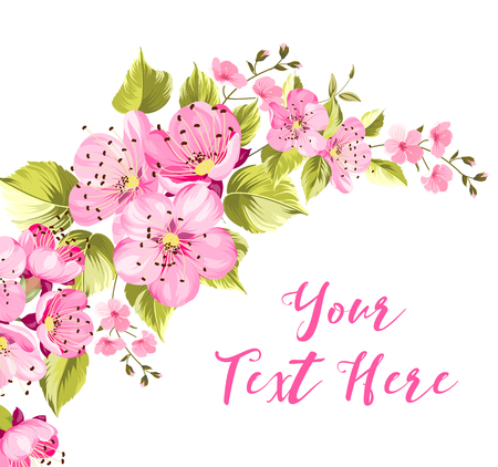 Spring card with sakura flowers containes calligraphic your text here sign isolated over white background. Vector illustration.