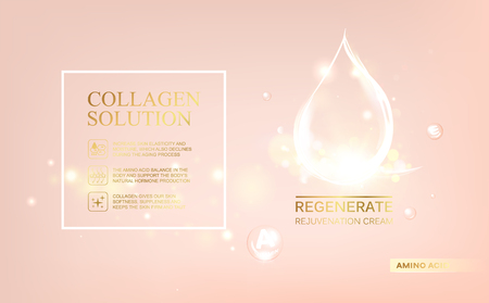 Regenerate face cream and Vitamin complex concept. Shining essence droplet.