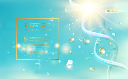 Scince illustration of a DNA molecule. Organic cosmetic and skin care cream. Vector illustration.